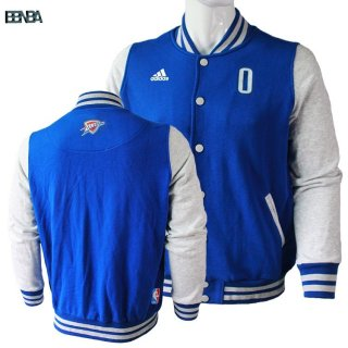 Survetement En Laine NBA Oklahoma City Thunder NO.0 Russell Westbrook Bleu Outlet