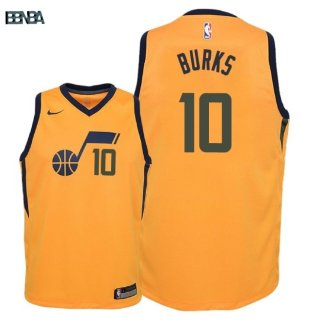 Maillot NBA Enfant Utah Jazz NO.10 Alec Burks Jaune Statement 2018 Outlet