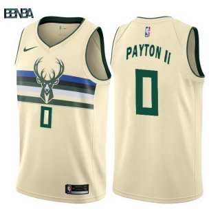 Maillot NBA Milwaukee Bucks NO.0 Gary Payton II Nike Crème Ville 2017-18 Outlet