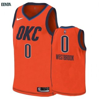 Maillot NBA Earned Edition Oklahoma City Thunder NO.0 Russell Westbrook Orange 2018-19 Outlet