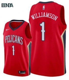 Maillot NBA Nike New Orleans Pelicans NO.1 Zion Williamson Rouge 2019-20 Outlet