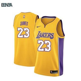 Maillot NBA Los Angeles Lakers NO.23 Lebron James Jaune Icon 2017-18 Outlet