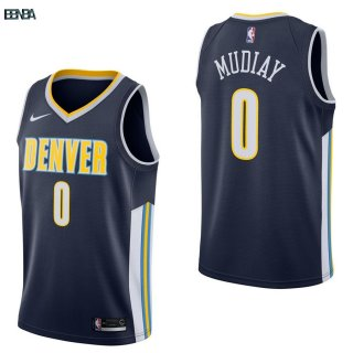 Maillot NBA Denver Nuggets NO.0 Emmanuel Mudiay Marine Icon 2017-18 Outlet