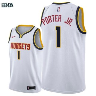 Maillot NBA Denver Nuggets NO.1 Michael Porter Jr Blanc Association 2018-19 Outlet