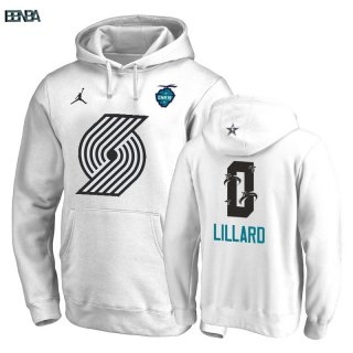 Hoodies 2019 All Star Portland Trail Blazers NO.0 Damian Lillard Blanc Outlet