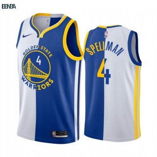 Maillot NBA Nike Golden State Warriors NO.4 Omari Spellman Bleu Blanc Split Edition 2019-20 Outlet