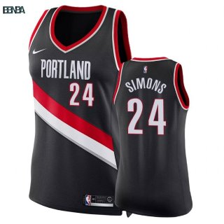 Maillot NBA Mujer Portland Trail Blazers NO.24 Anfernee Simons Noir Icon 2018 Outlet