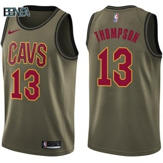 Maillot NBA Salute To Servicio Cleveland Cavaliers NO.13 Tristan Thompson Nike Armée Vert 2018 Outlet