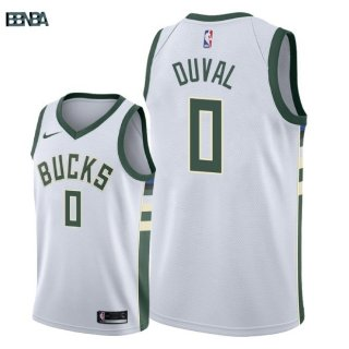 Maillot NBA Milwaukee Bucks NO.0 Trevon Duval Blanc Association 2018 Outlet