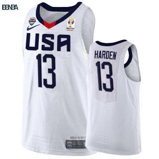 Maillot Coupe Du Monde Basket FIBA 2019 USA NO.13 James Harden Blanc Outlet
