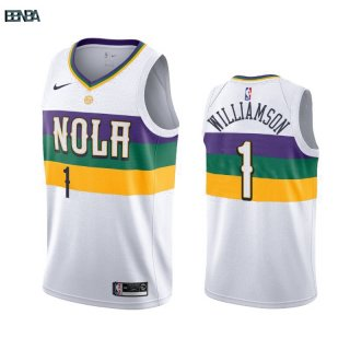 Maillot NBA Nike New Orleans Pelicans NO.1 Zion Williamson Nike Blanc Ville 2019-20 Outlet