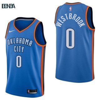 Maillot NBA Oklahoma City Thunder NO.0 Russell Westbrook Bleu Icon 2017-18 Outlet