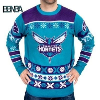 NBA Unisex Ugly Sweater Charlotte Hornets Bleu Outlet