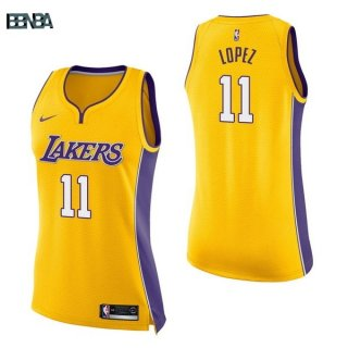 Maillot NBA Mujer Los Angeles Lakers NO.11 Brook Lopez Jaune Icon 2017-18 Outlet