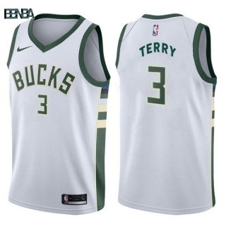 Maillot NBA Milwaukee Bucks NO.3 Jason Terry Blanc Association 2017-18 Outlet
