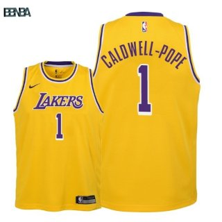 Maillot NBA Enfant Los Angeles Lakers NO.1 Kentavious Caldwell Pope Jaune Icon 2018-19 Outlet