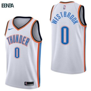 Maillot NBA Oklahoma City Thunder NO.0 Russell Westbrook Blanc Association 2017-18 Outlet