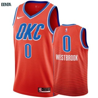 Maillot NBA Nike Oklahoma City Thunder NO.0 Russell Westbrook Orange 2019-20 Outlet