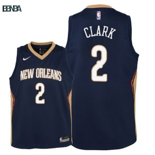 Maillot NBA Enfant New Orleans Pelicans NO.2 Ian Clark Marine Icon 2018 Outlet