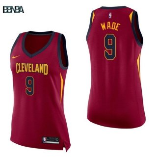 Maillot NBA Mujer Cleveland Cavaliers NO.9 Dwyane Wade Rouge Icon 2017-18 Outlet