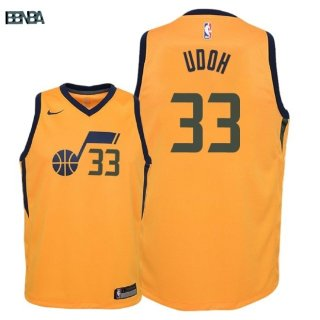 Maillot NBA Enfant Utah Jazz NO.33 Ekpe Udoh Jaune Statement 2018 Outlet