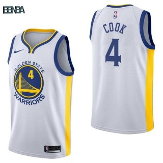 Maillot NBA Golden State Warriors NO.4 Quinn Cook Blanc Association 2017-18 Outlet