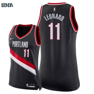 Maillot NBA Mujer Portland Trail Blazers NO.11 Meyers Leonard Noir Icon 2018 Outlet