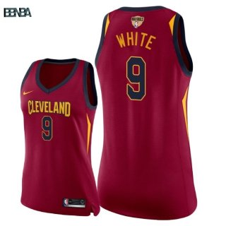 Maillot NBA Mujer 2018 Finales Cleveland Cavaliers NO.9 Okaro White Rouge Icon Patch Outlet