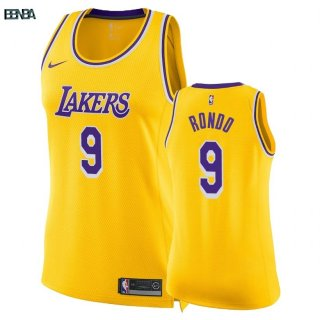 Maillot NBA Mujer Los Angeles Lakers NO.9 Rajon Rondo Jaune Icon 2018-19 Outlet