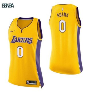 Maillot NBA Mujer Los Angeles Lakers NO.0 Kyle Kuzma Jaune Icon 2017-18 Outlet