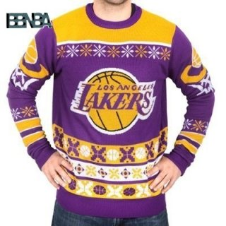 NBA Unisex Ugly Sweater Los Angeles Lakers Jaune Outlet
