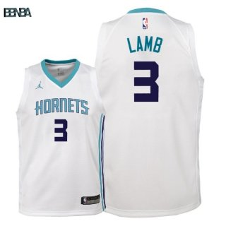 Maillot NBA Enfant Charlotte Hornets NO.3 Jeremy Lamb Blanc Association 2018 Outlet