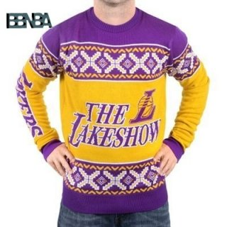 NBA Unisex Ugly Sweater Los Angeles Lakers Jaune Púrpura Outlet