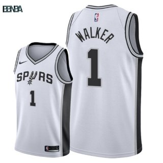 Maillot NBA San Antonio Spurs NO.1 Lonnie Walker Blanc Association 2018 Outlet