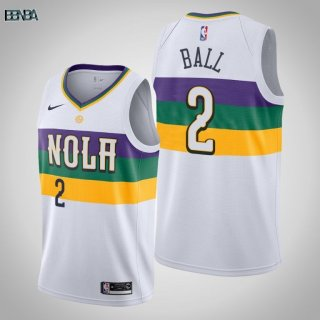 Maillot NBA Nike New Orleans Pelicans NO.2 Lonzo Ball Blanc Ville 2019-20 Outlet