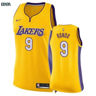 Maillot NBA Mujer Los Angeles Lakers NO.9 Rajon Rondo Jaune Icon 2018 Outlet