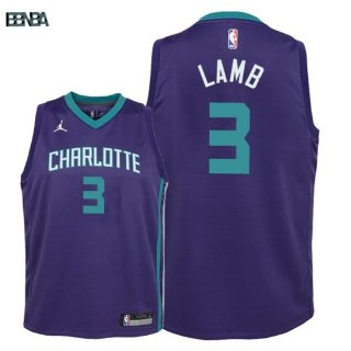 Maillot NBA Enfant Charlotte Hornets NO.3 Jeremy Lamb Púrpura Statement 2018 Outlet