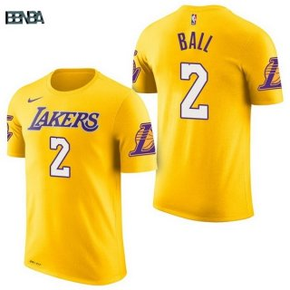 Maillot NBA Los Angeles Lakers Manche Courte NO.2 Lonzo Ball Jaune 2017-18 Outlet