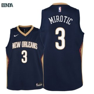 Maillot NBA Enfant New Orleans Pelicans NO.3 Nikola Mirotic Marine Icon 2018 Outlet