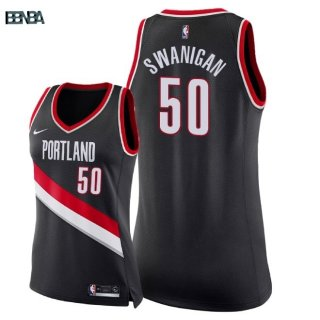 Maillot NBA Mujer Portland Trail Blazers NO.50 Caleb Swanigan Noir Icon 2018 Outlet