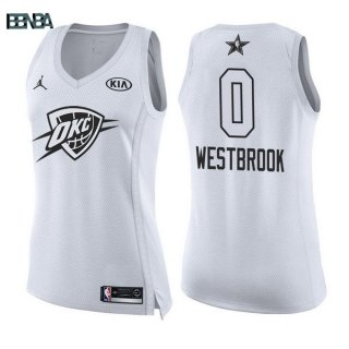 Maillot NBA Mujer 2018 All Star NO.0 Russell Westbrook Blanc Outlet