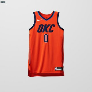 Maillot NBA Earned Edition Oklahoma City Thunder NO.0 Russell Westbrook Rouge 2018-19 Outlet