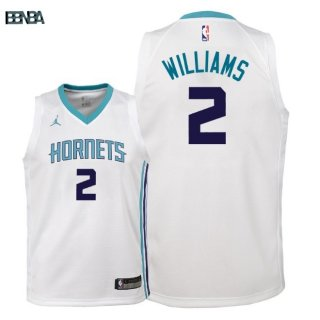 Maillot NBA Enfant Charlotte Hornets NO.2 Marvin Williams Blanc Association 2018 Outlet
