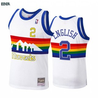 Maillot NBA Denver Nuggets NO.2 Alex English Blanc Hardwood Classics 1991-92 Outlet
