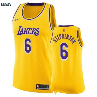 Maillot NBA Mujer Los Angeles Lakers NO.6 Lance Stephenson Jaune Icon 2018-19 Outlet