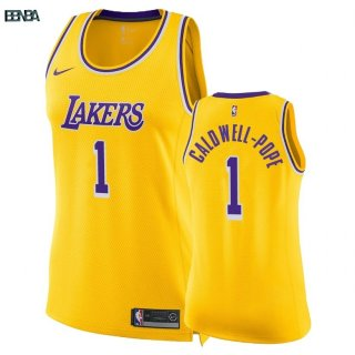 Maillot NBA Mujer Los Angeles Lakers NO.1 Kentavious Caldwell Pope Jaune Icon 2018-19 Outlet