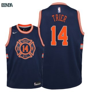 Maillot NBA Enfant New York Knicks NO.14 Allonzo Trier Nike Marine Ville 2018 Outlet