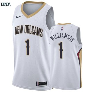 Maillot NBA Nike New Orleans Pelicans NO.1 Zion Williamson Blanc Association Outlet