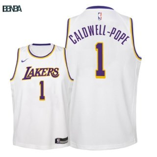 Maillot NBA Enfant Los Angeles Lakers NO.1 Kentavious Caldwell Pope Blanc Association 2018-19 Outlet
