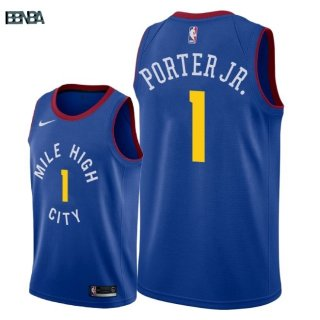 Maillot NBA Denver Nuggets NO.1 Michael Porter Jr Bleu Statement 2018-19 Outlet
